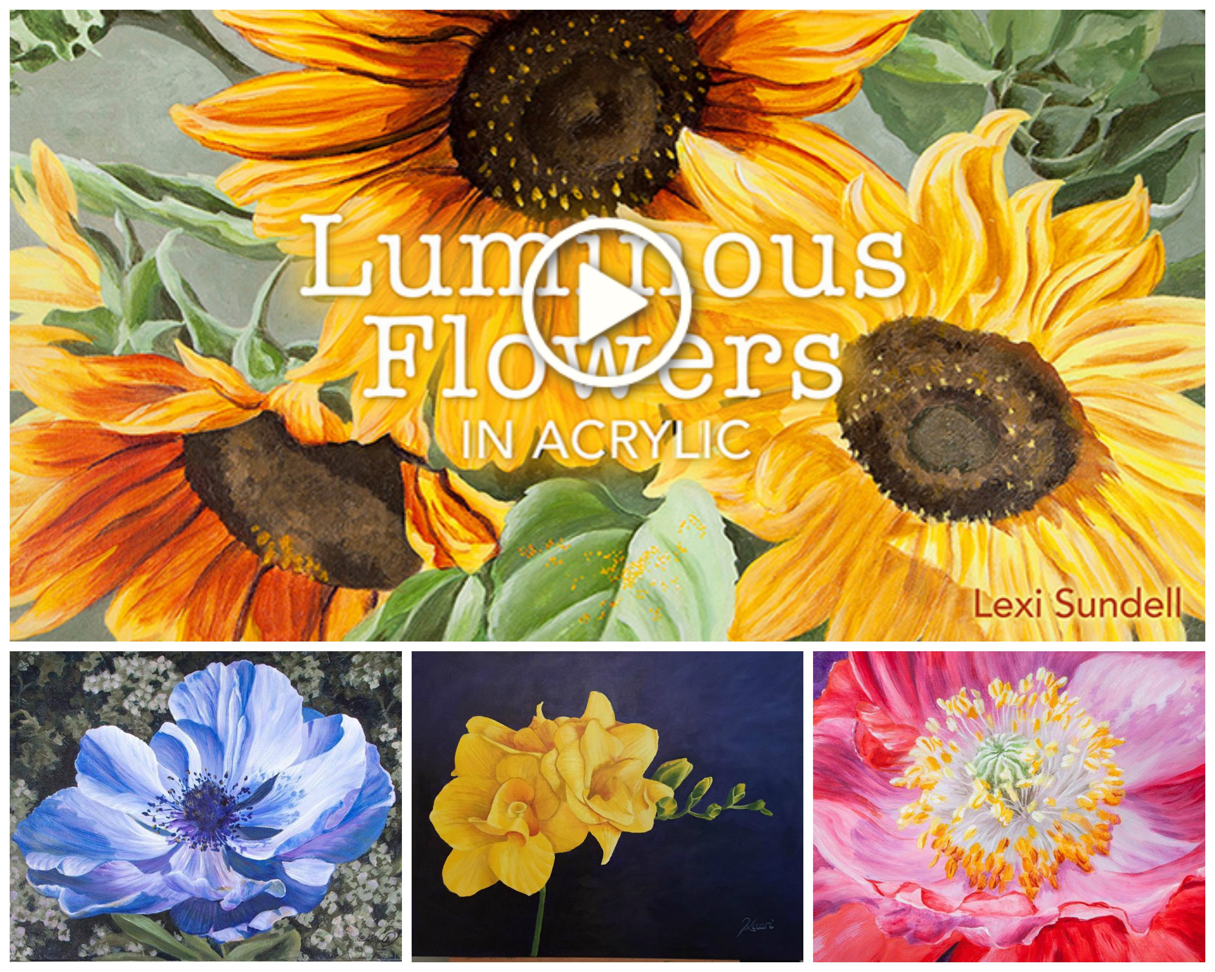 Luminous Flowers in Acrylic Collage