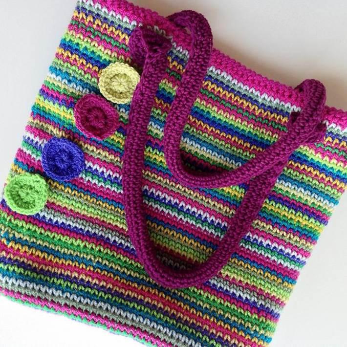 Rainbow tote bag crochet that looks like knitting