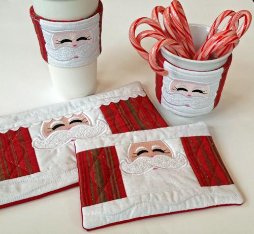 Santa Cup Cozy Coffee Sleeve Mug Rugs