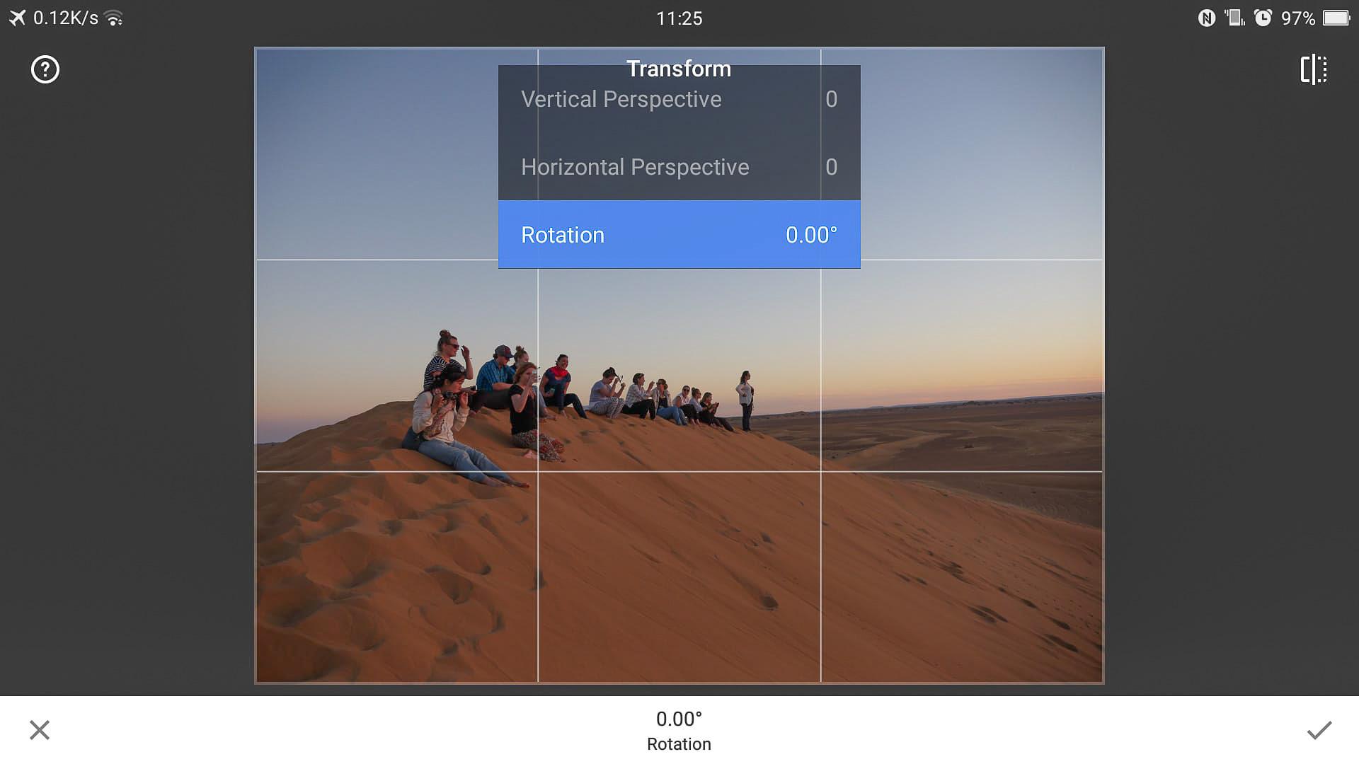 Snapseed transform window options