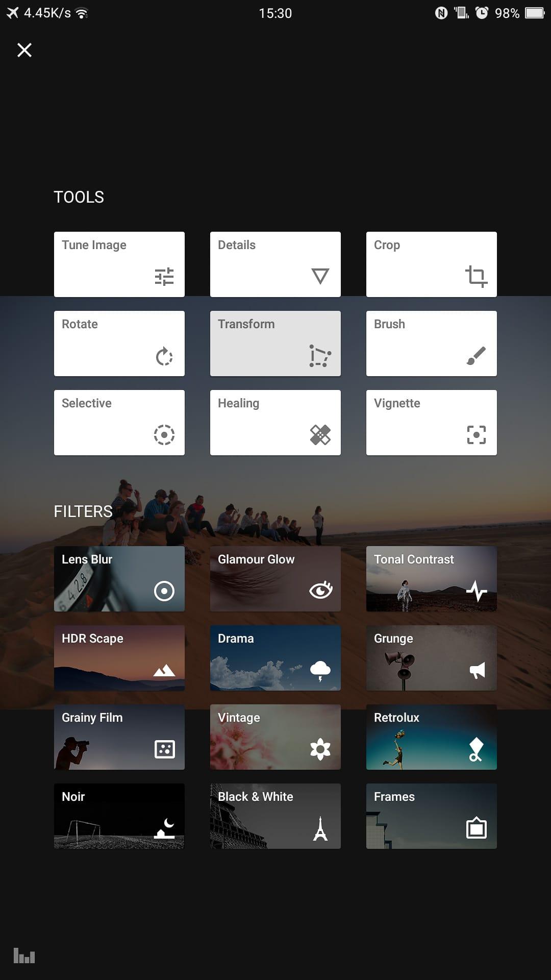 Snapseed main tool window options