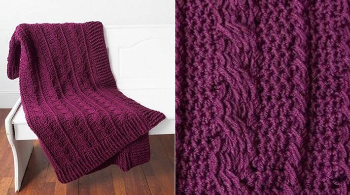 Snowberry cables afghan crochet that looks like knitting