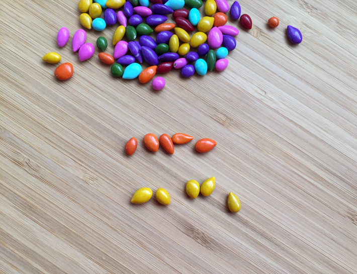 Candy coated sunfower seeds