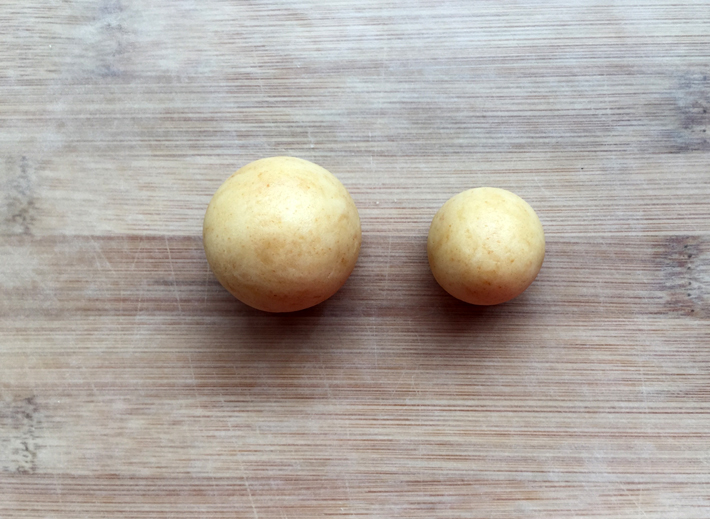 Roll both pieces into a ball