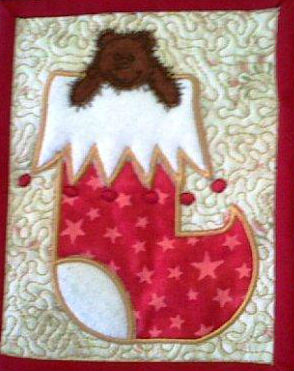 Teddy Xmas stocking mug rug