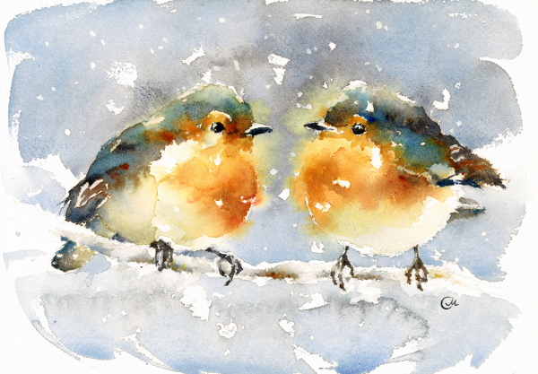 Winter Birdies Watercolor