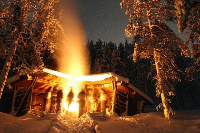 camp fire freezing temperatures finland stars
