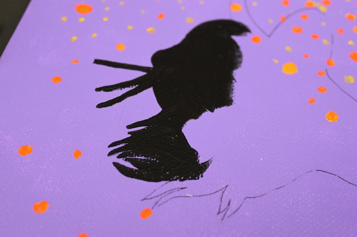 Partially painted acrylic cat silhouette