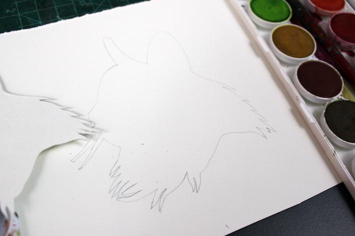 Cat Silhouette in Watercolor
