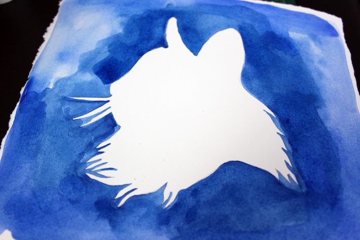 Finished watercolor cat silhouette portrait