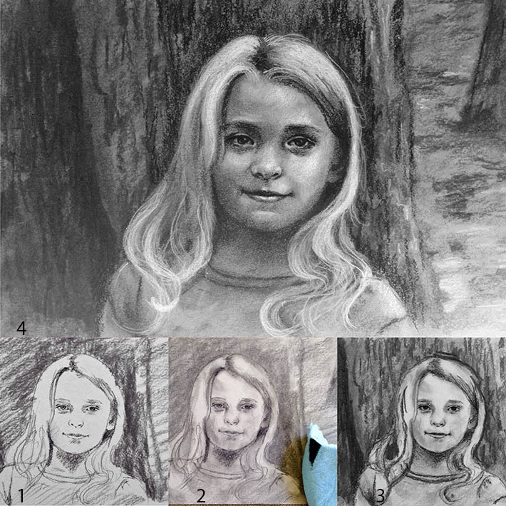 Drawing in Charcoal step by step