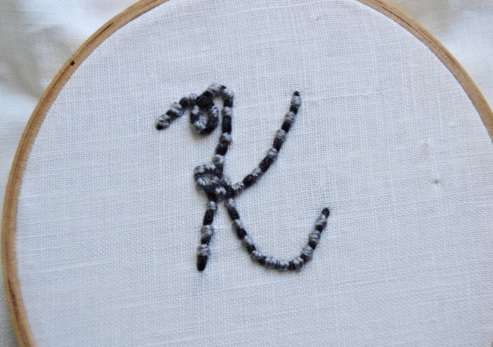couching embroidery monogram