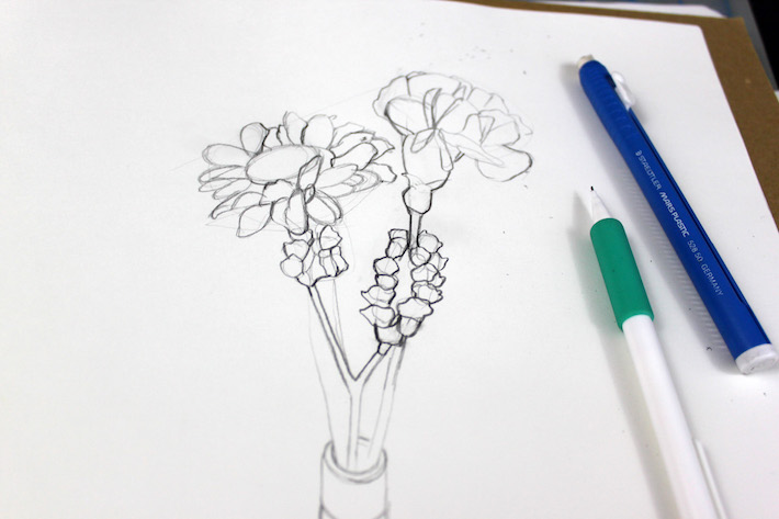 Step 2 of drawing flowers: refine simple shapes