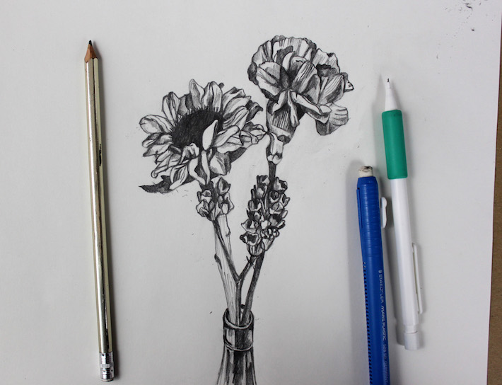 Drawing flowers is fun when you take it step by step.