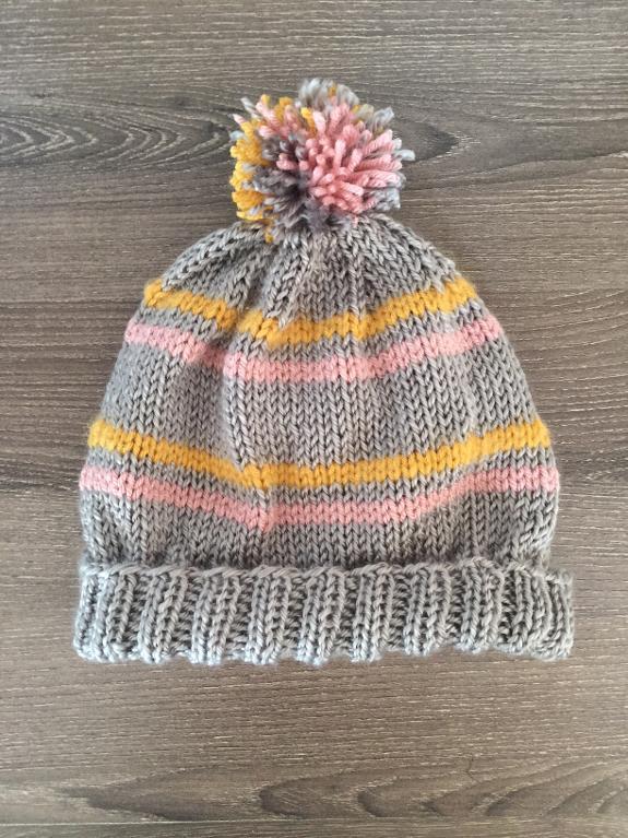 Striped Pom Pom Beanie FREE Knitting Pattern