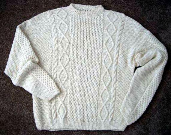 Man's Large Aran Sweater Knitting Pattern