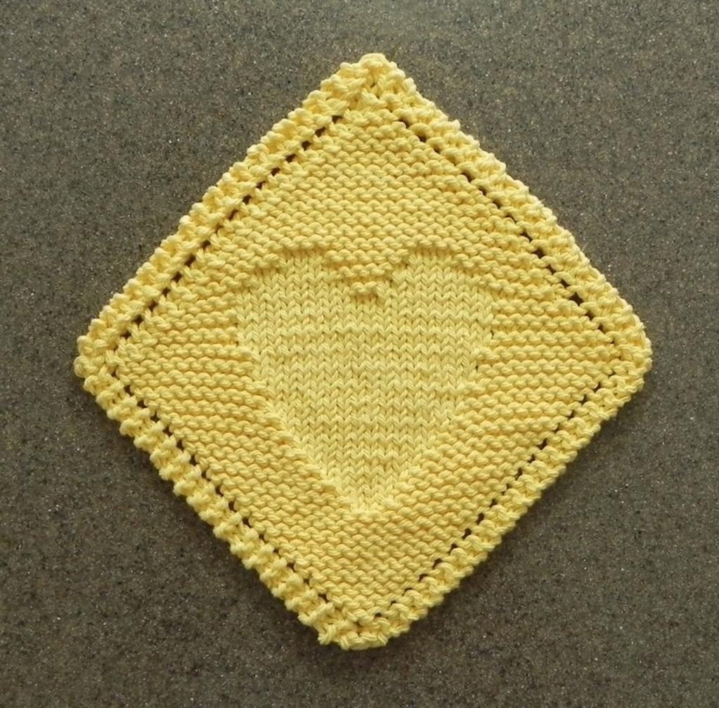Heart Diagonal Dishcloth Knitting Pattern