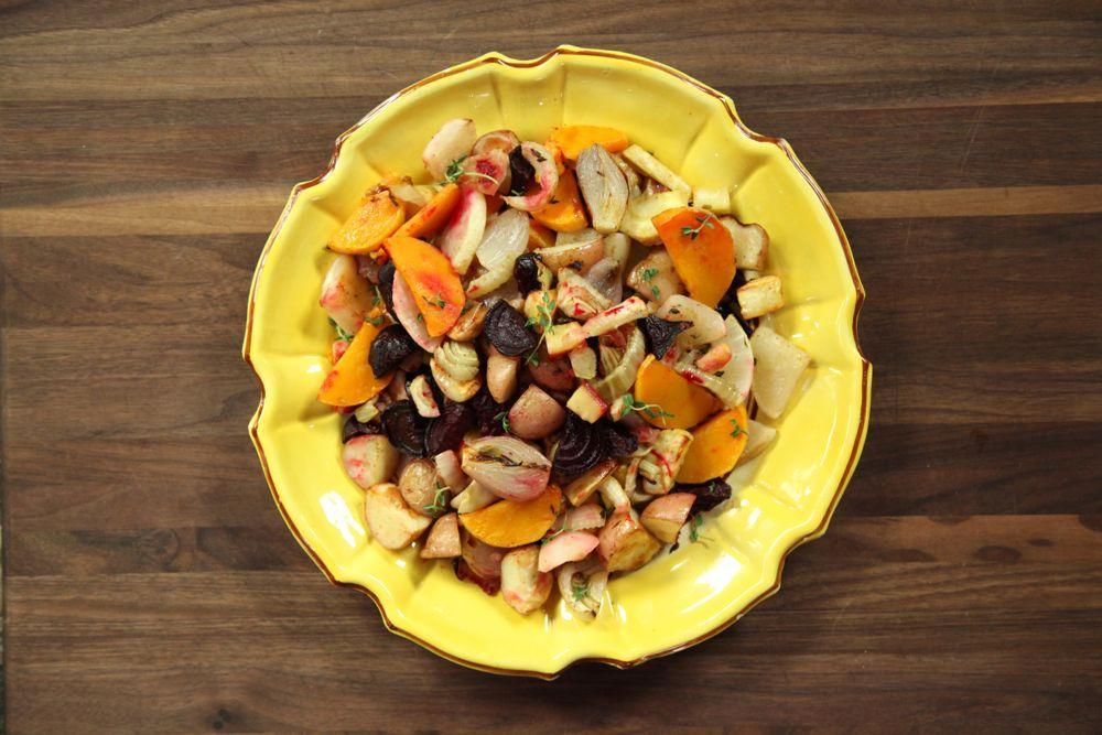 Bowl of Roasted Root Vegetables and Butternut
