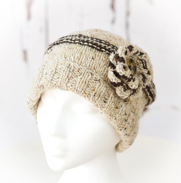 Lakeland Tweed Flower Hat Knitting Pattern