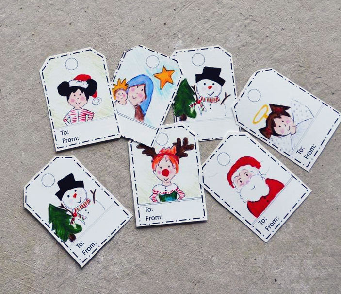 Free Hand Drawn Holiday Gift Tags