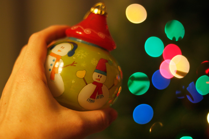 Christmas lights bokeh photography