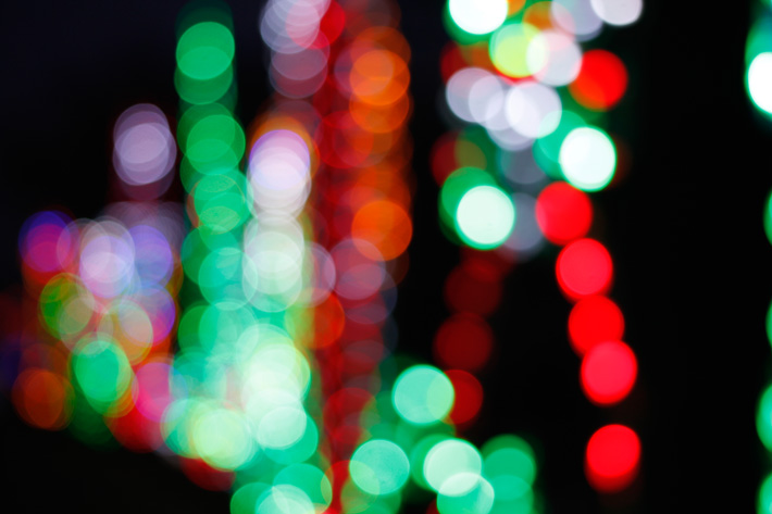 Christmas lights, bokeh photography how to