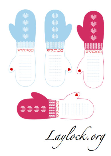 Printable Mitten Gift Tags