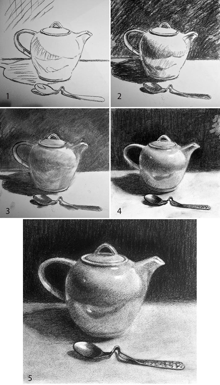 realist charcoal drawing in steps