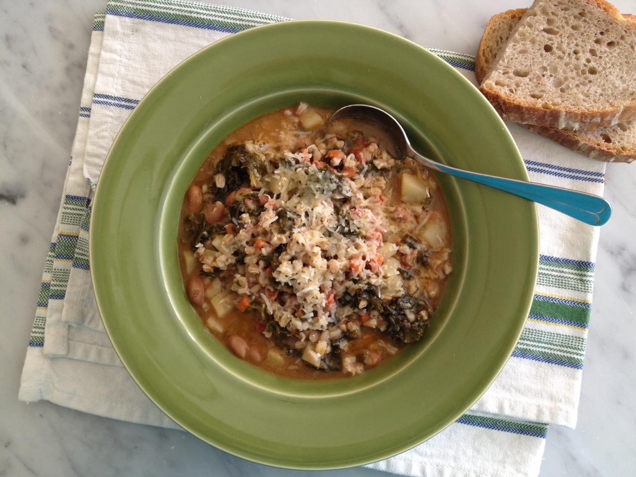 Vegetable soup with farro recipe