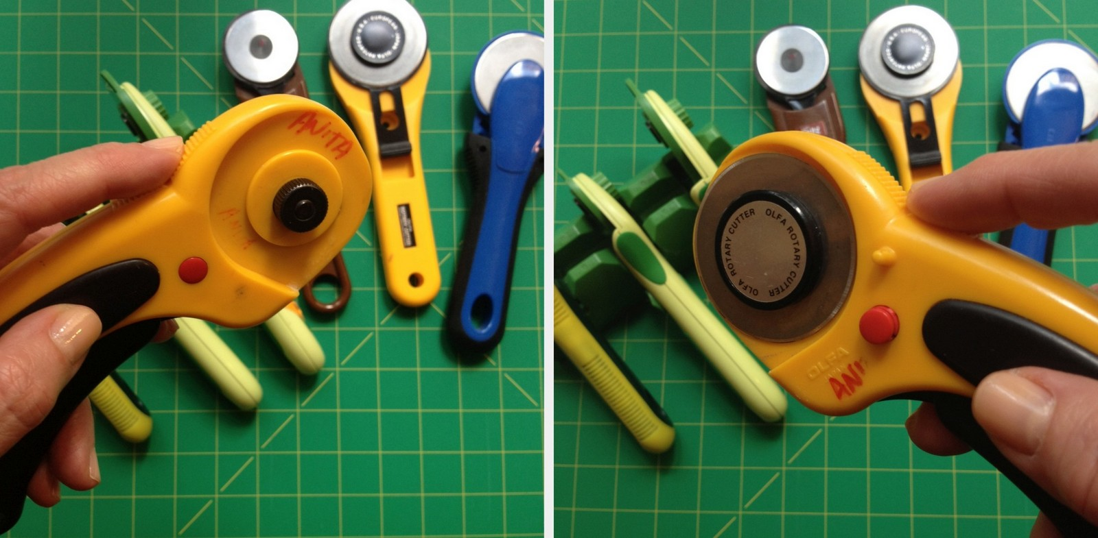 Rotary Cutter for the Right Hand, Back and Front