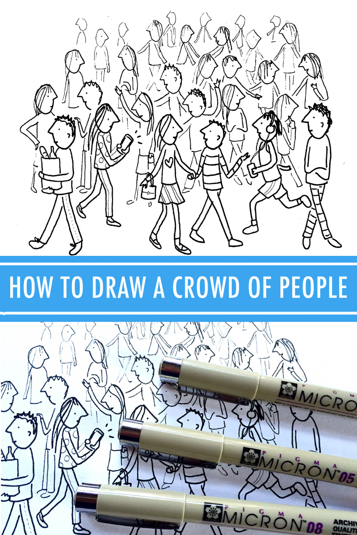 How to draw a crowd of people