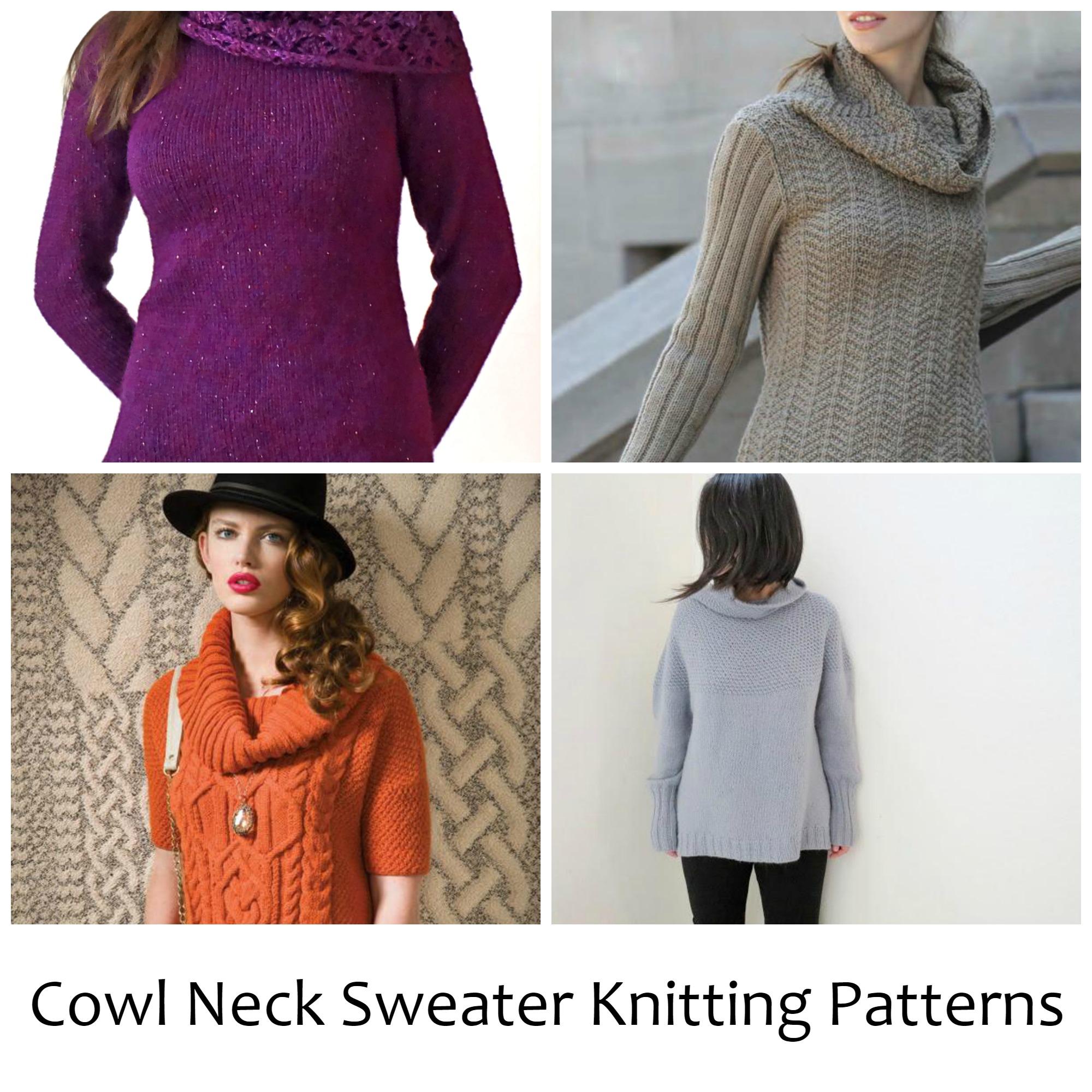 Cowl Neck Sweater Knitting Patterns