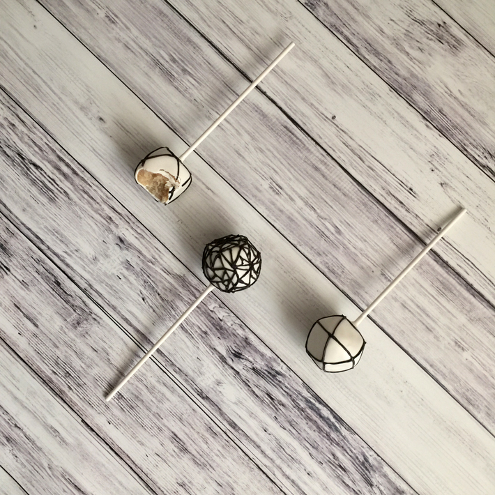 Geometric Modern Cake Pops with bite