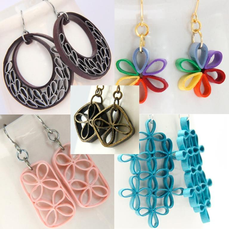 Image of quilled earrings by Honey's Quilling