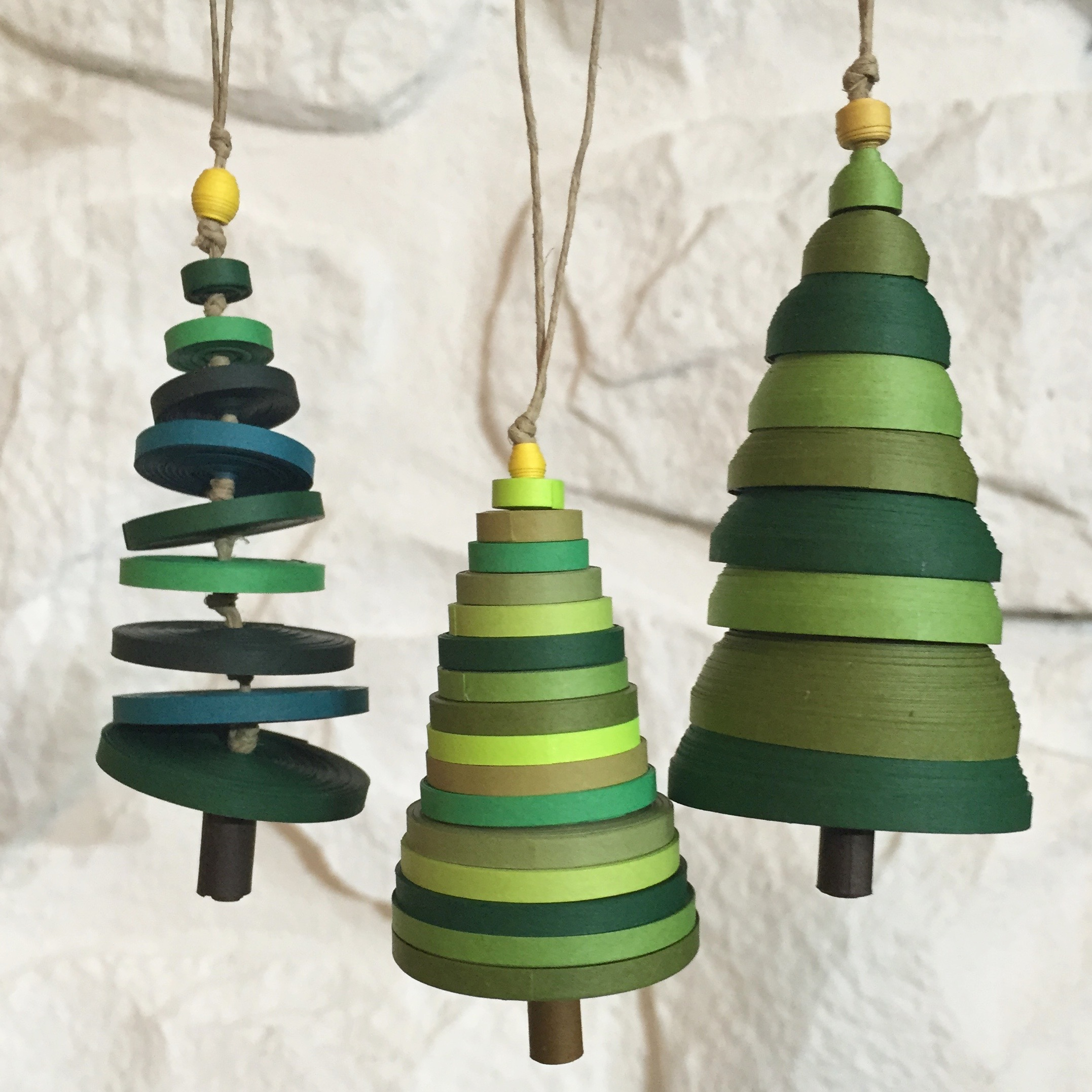 Image of 3 quilled holiday tree ornaments