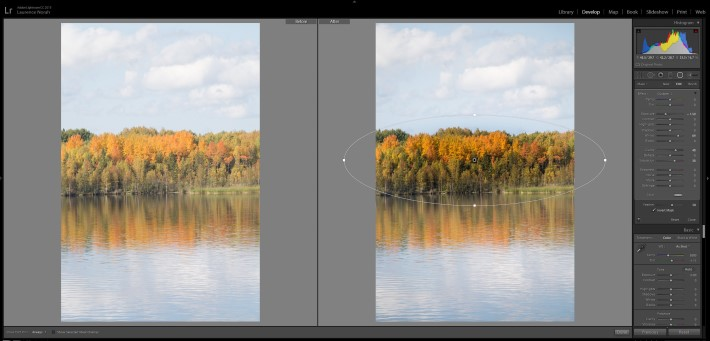 Lightroom filters - inverted radial filter mask