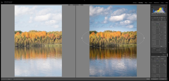 Lightroom filters - radial filter applied