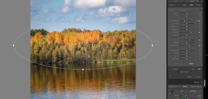 Lightroom filters - radial filter feather 100