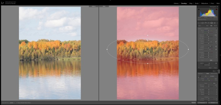 Lightroom filters - radial filter with mask