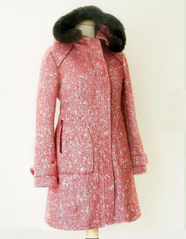 hooded coat pattern in wool tweed
