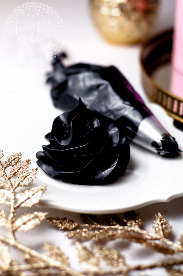 Deep black buttercream icing