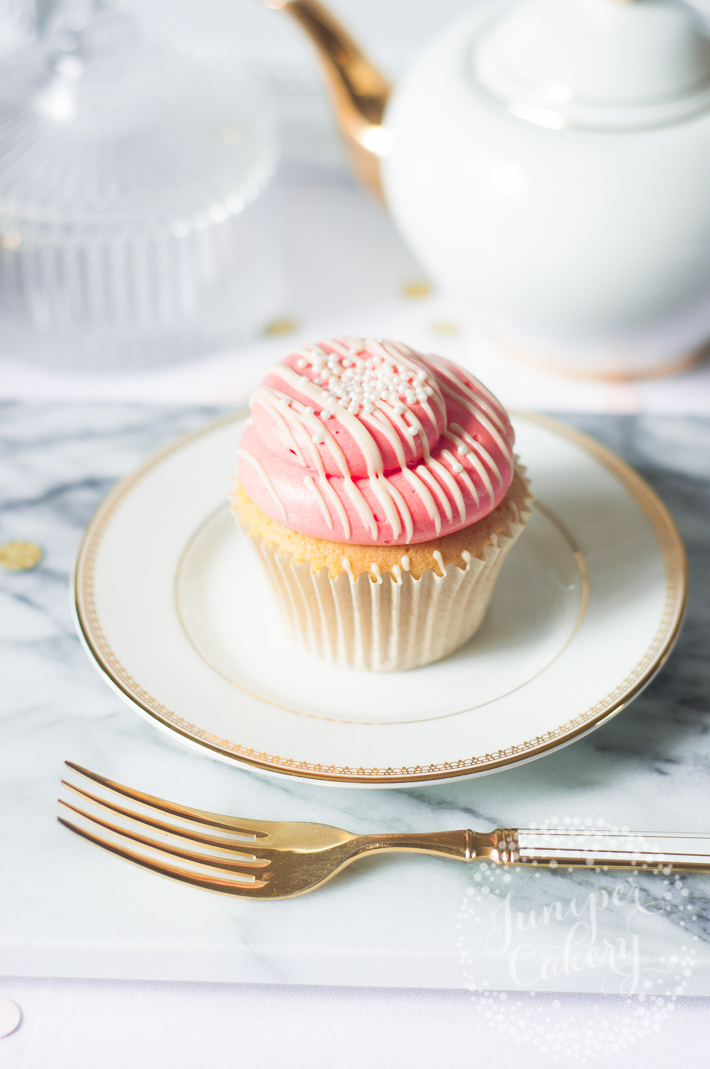 Strawberry milkshake cupcake with perfect buttercream piping via Juniper Cakery