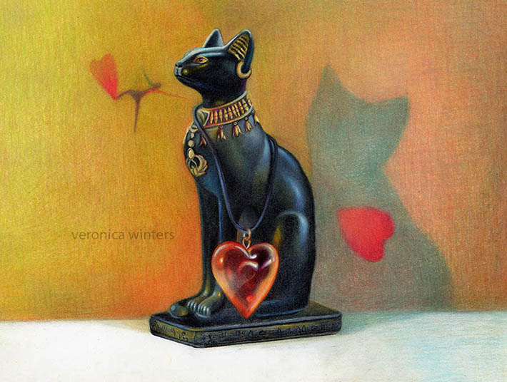 cat of hearts colored pencil drawing veronica winters