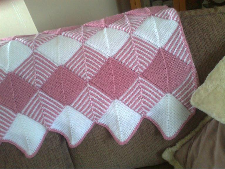 diamond tunisian crochet baby blanket