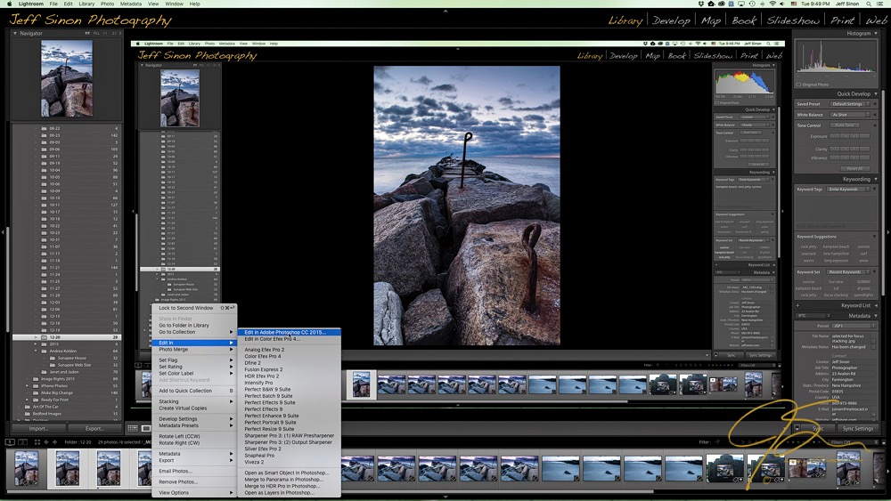 Screen shot of the lightroom develop module