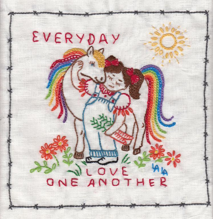 Love One Another Horse Embroidery Pattern