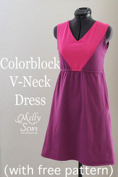 Color Block V-Neck FREE Dress Sewing Pattern