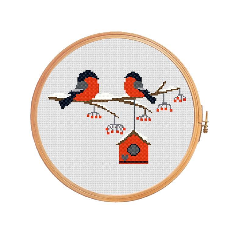 Lovers Bullfinches Cross Stitch Pattern
