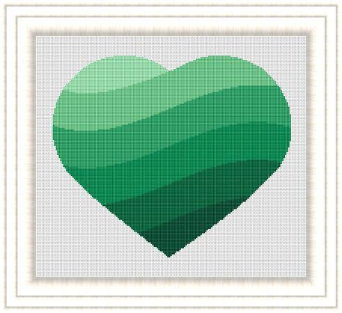 Green Heart Cross Stitch Pattern