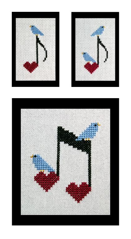 Happy Little Bluebirds Sing Set of 3 Cross Stitch Pattern